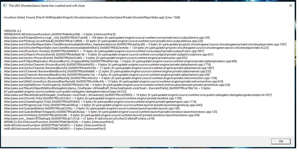 Unreal Engine Error - NAPVP - Bug Reports - Official Atlas Community